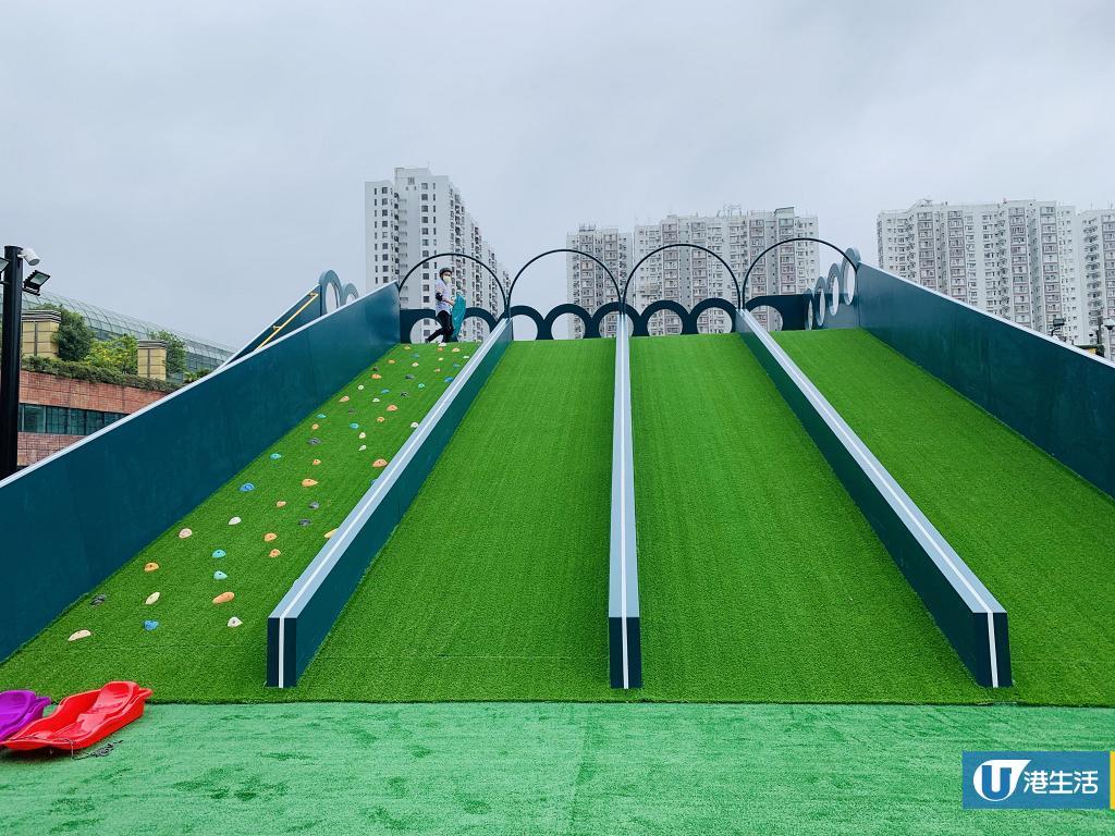 【沙田好去處】全港首個戶外空中草地運動公園登陸沙田新城市 5米高滑草梯/15米長攀石牆/緩跑徑