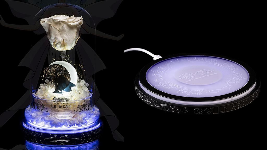 美少女戰士保鮮花無線充電板!白玫瑰/發光月亮玻璃夜燈設計 擺設充電兩用