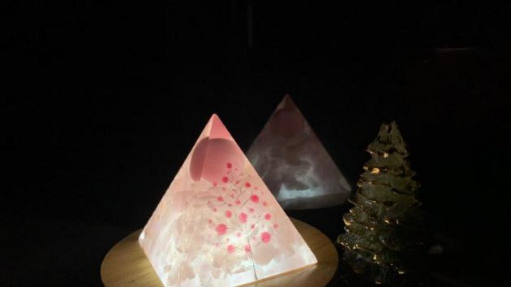 金字塔水晶許願小夜燈!薰衣草/蒲公英/星空夢幻石紋+舒壓安神粉晶