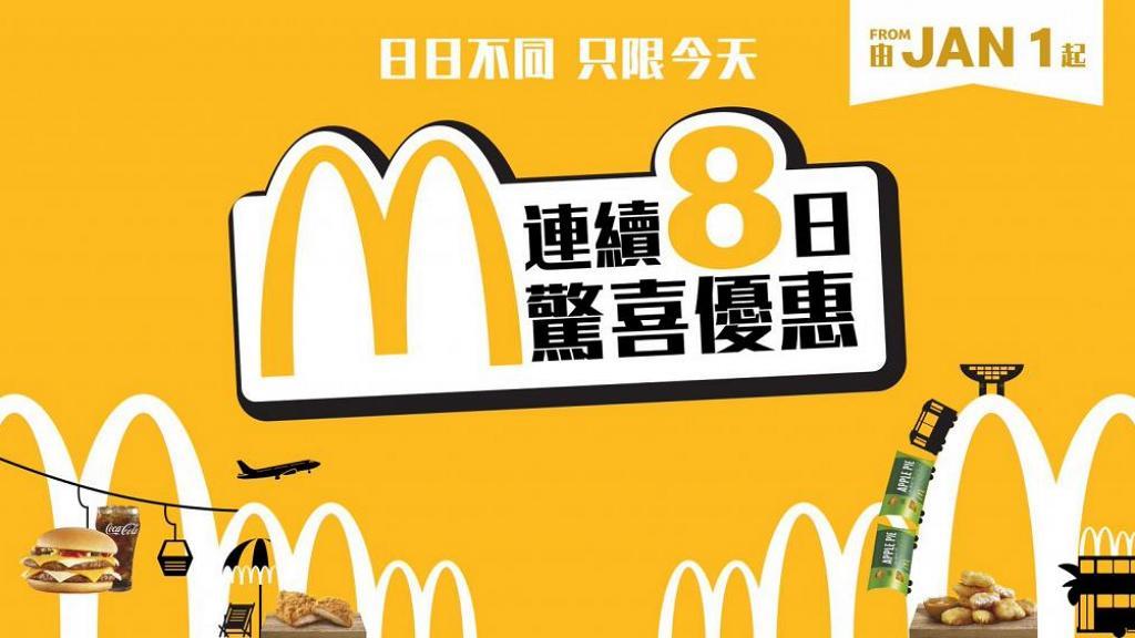 麥當勞一連8日每日快閃優惠2020年回歸!10蚊9件麥樂雞/全日早餐/四重芝士孖堡