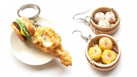 泰國全人手製作仿真食物飾品耳環!芒果糯米飯/漢堡包/點心/壽司