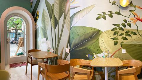 【元朗美食】元朗新開薄荷綠清新Cafe 白色圓拱門、植物壁畫充滿渡假風
