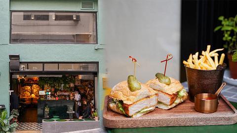 【中環美食】中環新開兩層高復古墨綠色Cafe 夜晚變酒吧!厚切吉列豬三文治/日式脆炸甘鯛
