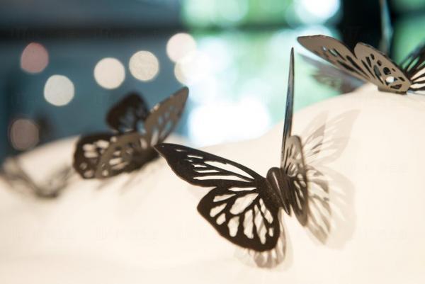 以不銹鋼打造出一朵白色的雲,雲上有不銹鋼蝴蝶,會帶給你怎樣的聯想?(圖:publicart)