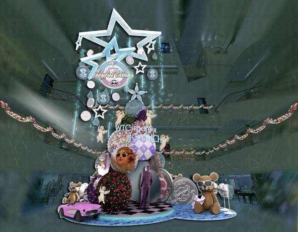 利用多個充滿JOYRICH代表性圖案的水晶球打造而成的聖誕樹,其中部份水晶球更大玩投射效果,隨機投影不同的JOYRICH