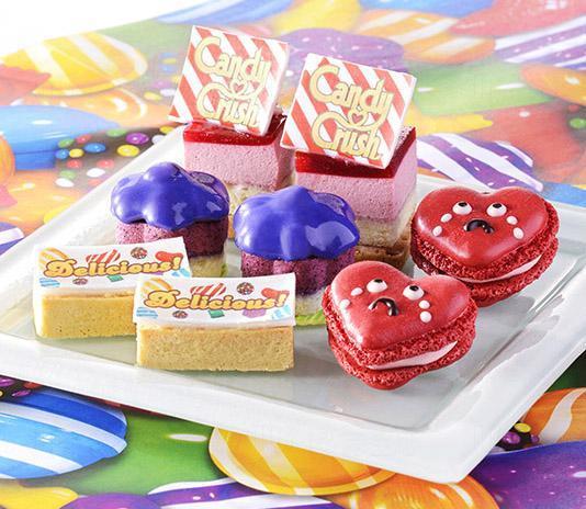 第一層:Candy Crush! (紅桑子慕絲蛋糕)、Delicious! 檸檬撻、心碎馬卡龍 (草莓玫瑰馬卡龍)、Purple Candy (藍莓慕絲蛋糕)