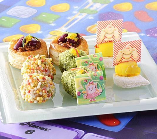 第三層:Tiffi Crush (炸帕爾瑪火腿芝士香草角)、 Red Candy (紅腰豆辣肉醬香酥盒)、 Rainbow Shrimp (七彩脆米炸蝦丸)、 Yeti Mountain (番紅花帶子伴黃甜椒蓉)