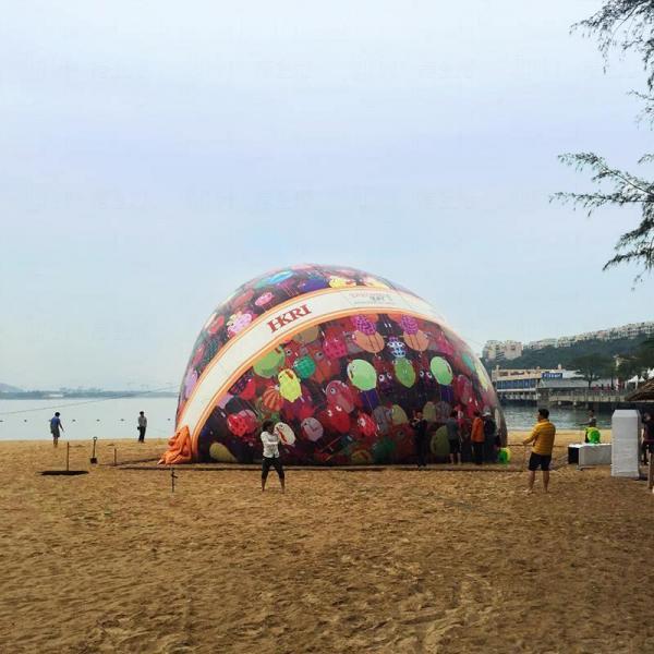 法國塗鴉藝術大師Ceet Fouad設計全港最高巨型充氣復活蛋 (圖:FB@香港愉景灣 Visit Discovery Bay)