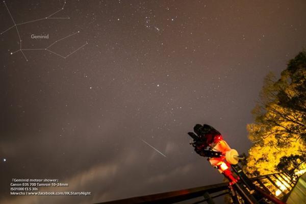流星量最多 雙子座流星雨(圖:FB@『香港。星遊此地』星野攝影創作)