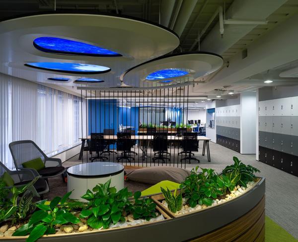 NU SKIN運用創新的倒三角管理架構,大中華區域副總裁暨華北及港澳總裁劉明欣博士 (圖右三) 與年輕同事打成一片,在輕鬆愉悅的環境下開會,一起實現公司與人生價值。