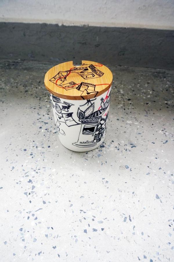 「連線」手繪咖啡杯