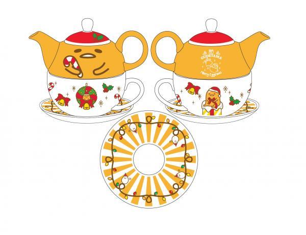 只要於場內消費滿指定金額更可分別免費獲贈「GUDETAMA聖誕精美茶壺套裝」