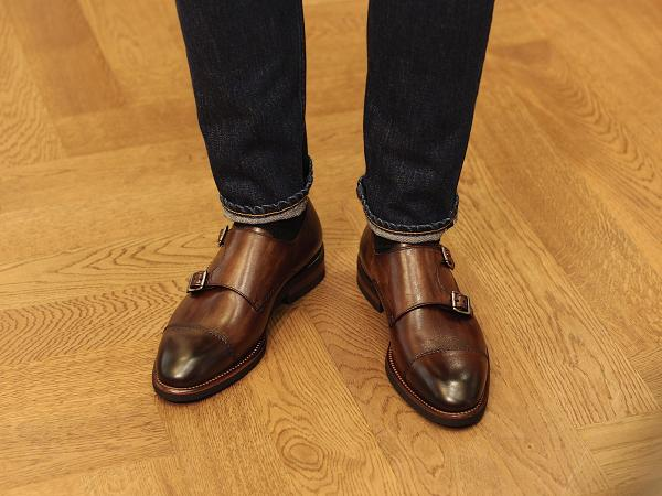 HOAX Calzoleria Toscana Patina Double Monk Strap Shoes w Vibram Sole  Handmade in Italy $2599
