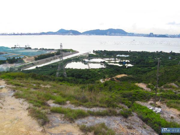左方是稔灣堆填區,右方是白泥的漁塘