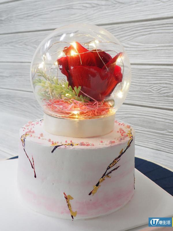華麗生日蛋糕新選擇 LED發光玫瑰+雲石蛋糕