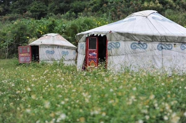 蒙古包的外貌,殘舊中帶者點歲月的痕跡。