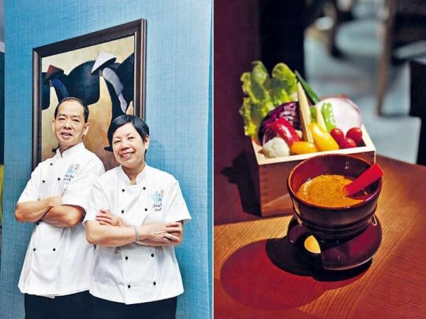 江妺師傅(右)與黎金元師傅(左)。/ 野菜沙律伴大閘蟹膏醬($188)