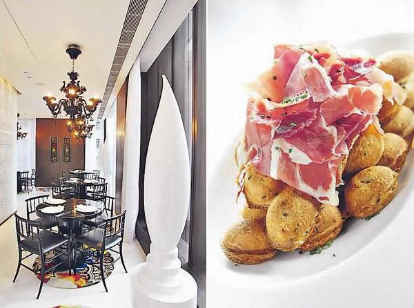 用餐區呈長方形,有大量自然光映照。/ 雞蛋仔配 Serrano Ham ($70)