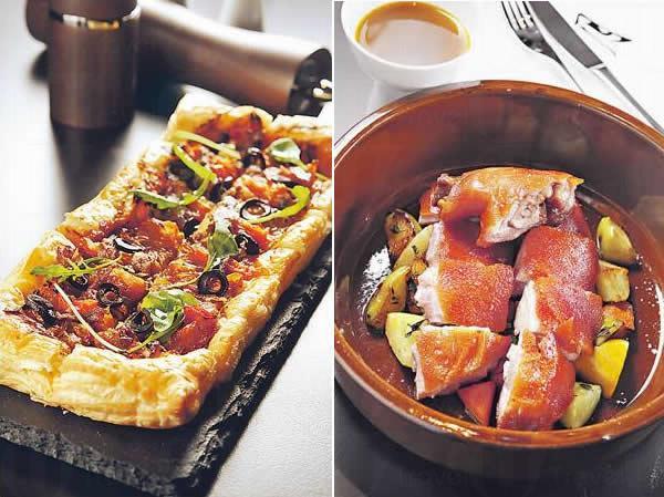 法式酥皮薄餅 ($75) / 慢煮西班牙烤乳豬 ($380/2 人)
