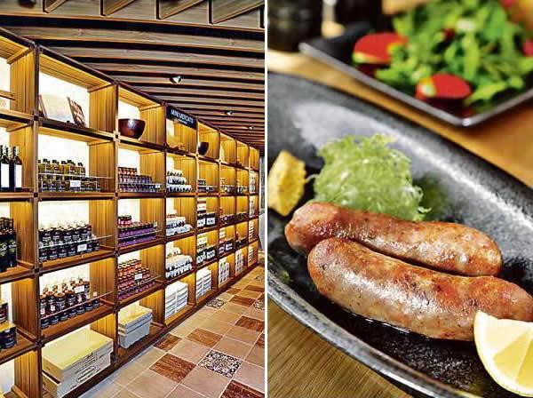 店內設有小型巿場,售賣意大利的黑醋、橄欖油、醃菜、醬料及乾意粉等。/ 自家製香腸($80/件)