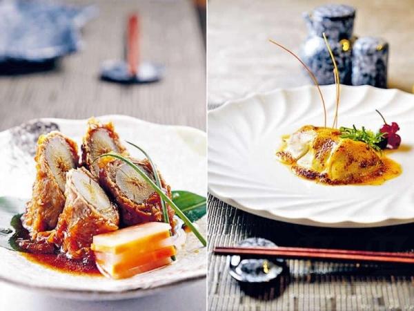 淮山牛肉卷($108)/ 香芒銀鱈魚($198)