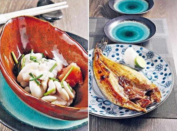 醋漬白子($150):冬天才有的白子,其實是鱈魚的精子,師傅以數種不同的醋作浸漬,再加入辣蘿蔔蓉,是非常傳統又高級的和食。/ 燒花魚($180):北海道最盛產這種花魚,而且經鹽醃過後風乾一天,來港後餐