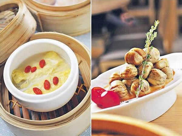 養生湯浸鮮竹卷($28):鮮腐竹裏全是口感各異的蔬菜如椰菜、甘筍和冬菇絲,淋上魚湯蒸煮,每日新鮮製作不留過夜,清爽鮮美。/ 咖啡栗子($52):大廚創意新菜,從香港人愛飲咖啡作為靈感,配上當造天津板栗