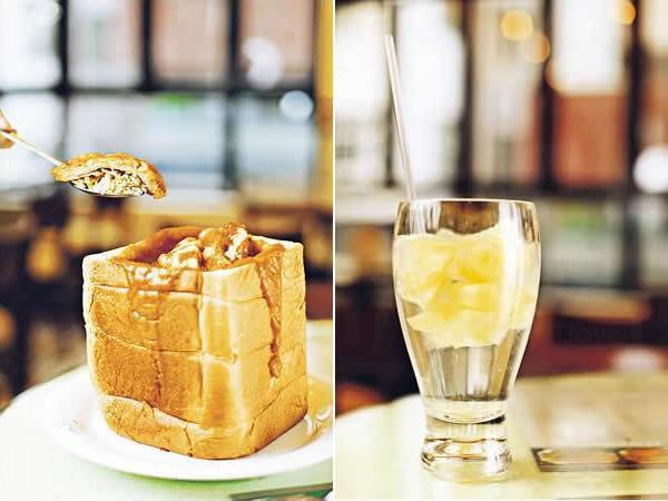 金磚焗鮮茄豬扒飯($78 連飲品):將近 6 吋長的方包挖空,釀入鮮茄豬扒飯再焗,飯底炒過特別香,豬扒軟腍入味,分量十足。/ 粒粒菠蘿冰($24):新創作的菠蘿冰,將菠蘿粒用糖水雪成冰塊,飲落特別涼快