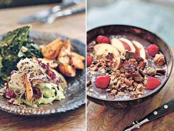 【Salad Medley $75】沙律每日有四款,像美國芥蘭沙律、泰式椰菜沙律等,款式天天不同。 / 【GP Acai Berry Bowl $95】巴西莓與椰水打成,並加入自家焗製的香脆燕麥,早餐