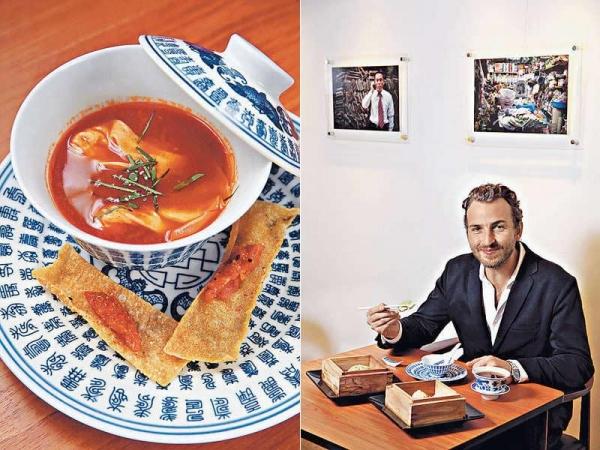 【Bouillabaisse $68】有如法國馬賽魚湯般鮮甜,特別加入兩隻小雲吞,以鱸魚及帶子做餡。 / 來港六年多的Nicolas Elalouf最愛飲茶,因而想出中西合璧的好玩點心。