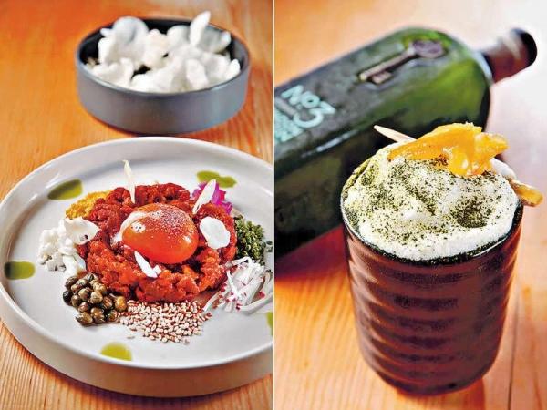 【Spicy Wagyu Tartar $158】經典的Beef tartar用辣麵豉撈勻,香口惹味,以自家製的Rice chips夾住食,比Toast的口感更好。 / 【Ozen Matcha $1