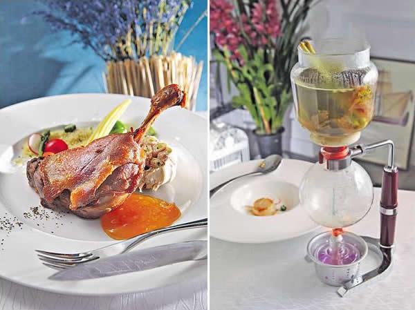 法式傳統油封鴨髀配香橙醬汁:以鵝油將法國鴨髀浸足 20 日以上,令鴨髀的肉質變得一絲絲但又極軟腍,再以焗爐焗 15 分鐘至皮脆,配上自家以橙酒、橙皮等製的果醬,與鴨髀絕配。/ 虹吸壺魚湯配香煎帶子:虹