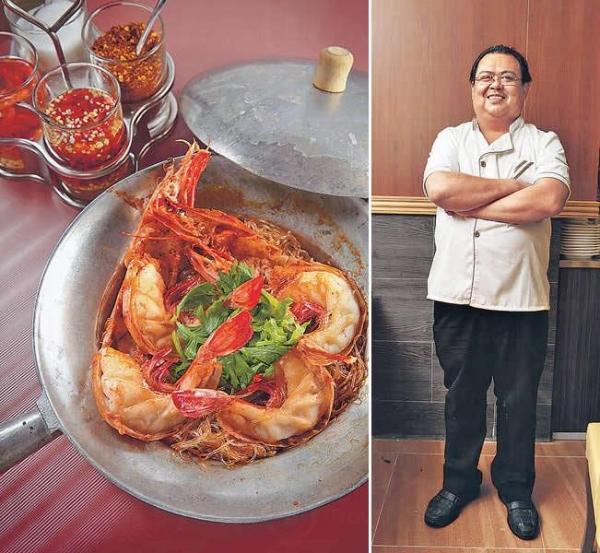 【粉絲大蝦煲 $188】用較貴價的泰國粉絲,口感較煙韌,跟緬甸虎蝦同煮,盡吸蝦的鮮味,好惹味,蝦肉鮮甜彈牙。 / 泰籍大廚Ming哥來港20年,曾擔任不少泰國餐廳的總廚,經驗老到。