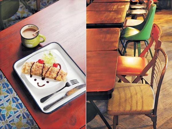 【台式芝士肉鬆蛋餅配紅豆奶 $32(早餐)】在鑊中打入鮮雞蛋,再放台灣直送的蛋餅,反轉另一面便可放入肉鬆、芝士等材料,食法地道。 / 超過30款Designer chairs,老闆考慮稍後標價出售。