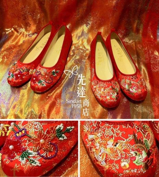 很多新娘子都指定要來先達買他們的繡花鞋襯裙褂。(照片來源:先達商店)