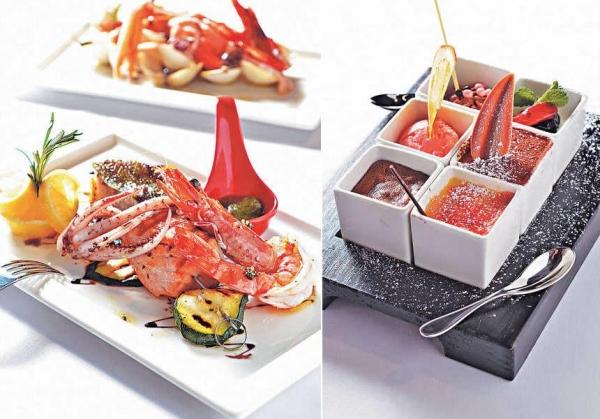 【Baked Seafood Skewer & Grilled Vegetables ''Opera House'' $268】將鱸魚、三文魚和小胡瓜以籤串成,旁邊配有以人手榨壓而成的Pesto sauc