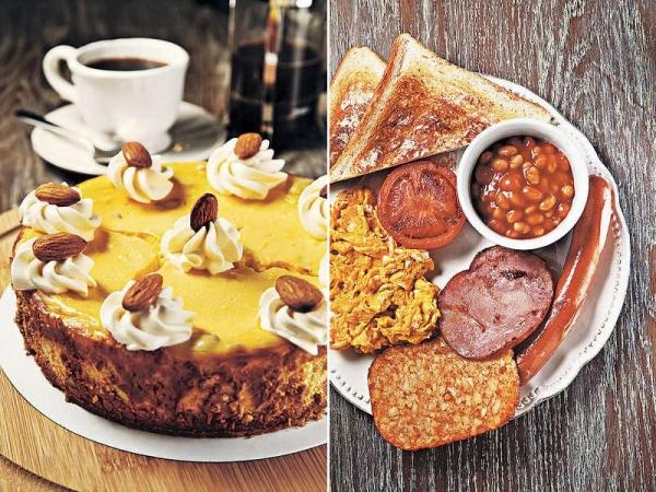【Cheese Cake Set $48/件(配咖啡)】芝士味比坊間的濃,質感卻如雪糕般幼滑,食落還有粒粒杏仁碎,配咖啡最好。 / All Day Breakfast $68經典的早餐,都是大路的雞蛋