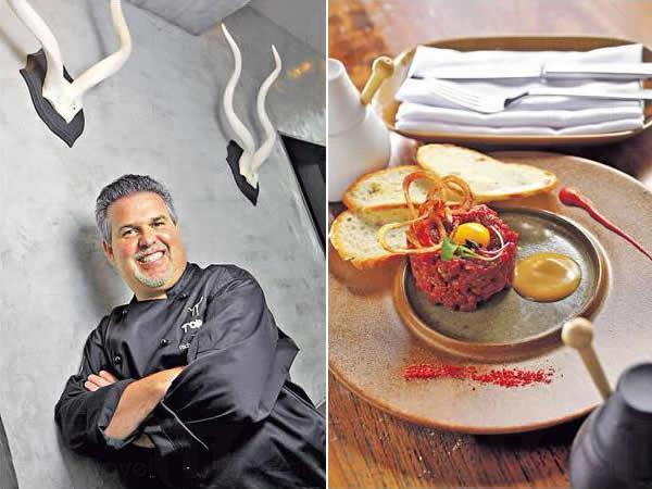 牛角是 Toro 的標誌,Chef Richard 謂他不時都會轉餐牌,令食客可多試不同的菜式。/ 香辣牛肉他他($148):上面為香脆乾葱及鵪鶉蛋黃,配美國安格斯牛做成的他他,蘸汁 Pasilla