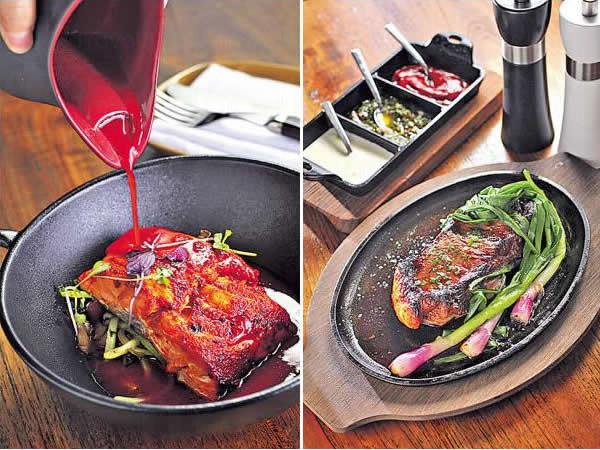 慢煮 Achiote 醬三文魚配佛手瓜絲($198):來自挪威的三文魚,以Achiote 醬醃後再低溫煮,魚肉本已鮮嫩,慢煮保留了滑的口感,醬汁感覺帶少許中式的甜,叫人一吃難忘。/ New York