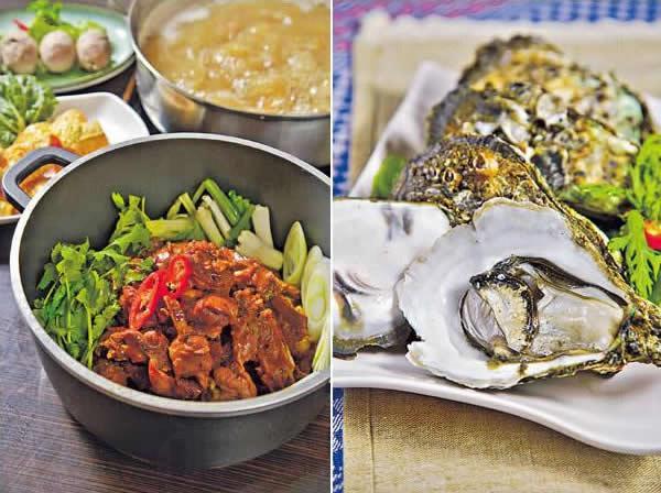 台灣薑母鴨鍋($128):純湯底用來打邊爐,另上爆香的鴨肉,是截然不同的風味。/ 流浮山生蠔($78):新鮮生蠔來自鄰近的流浮山,隻隻肥美飽滿。