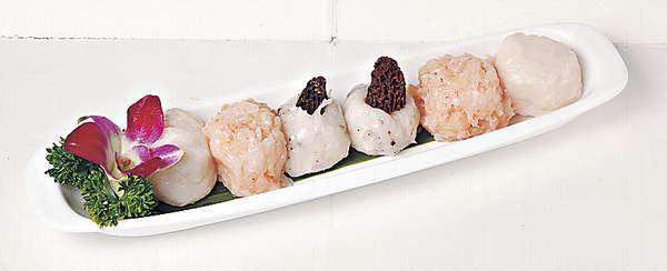 【高級手打三寶丸 $168】有黑松露丸、鵝肝丸和龍皇蝦丸,都是師傅手製,坊間少見。