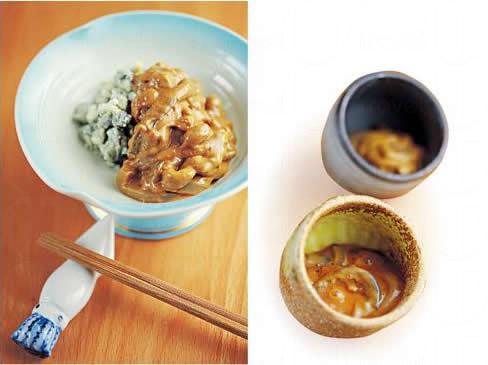 鹽辛(藍紋芝士,$58/上)、(甜口、辛口各 $48/左):即是把烏賊身切條,加以其內臟、醬油等製成的醃漬物,鹹香味濃,日本人首選下酒菜,3 款中以「甜口」最易入口。