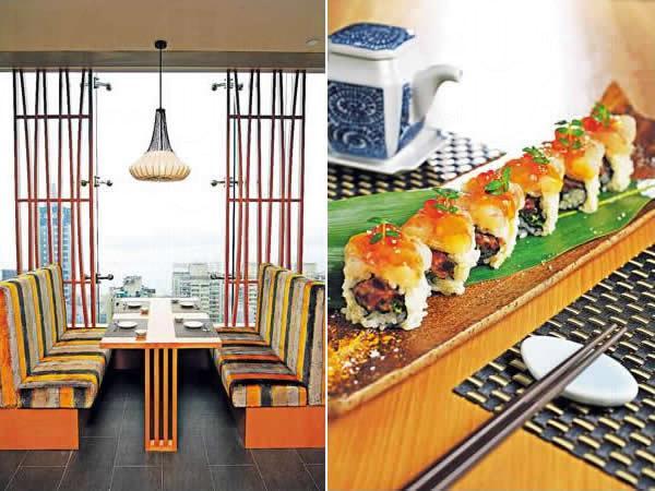 主餐區擁有無敵海景,設計格調現代中滲入了日本傳統的圖案元素。/ 牡丹蝦赤身卷($218/6件):包着吞拿魚蓉,還有法國葱碎、上面放牡丹蝦肉和三文魚子,淋上微辣的鮮榨芒果醬,醒胃。