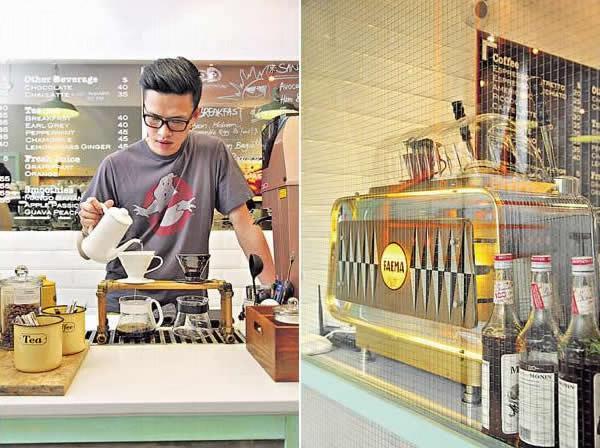 冠軍咖啡師 El 新加的 Brew Bar,做精品級的手沖咖啡。/ 這部 Faema 拉桿機生產於 1950 年,從 ebay 購回來再維修改裝才能使用。