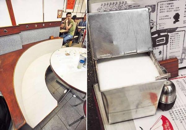 柚木馬蹄卡座,出自老工匠手功,廿年如新,實而不華。/ 方形不銹鋼糖罌,度身訂造,簡潔而耐用。