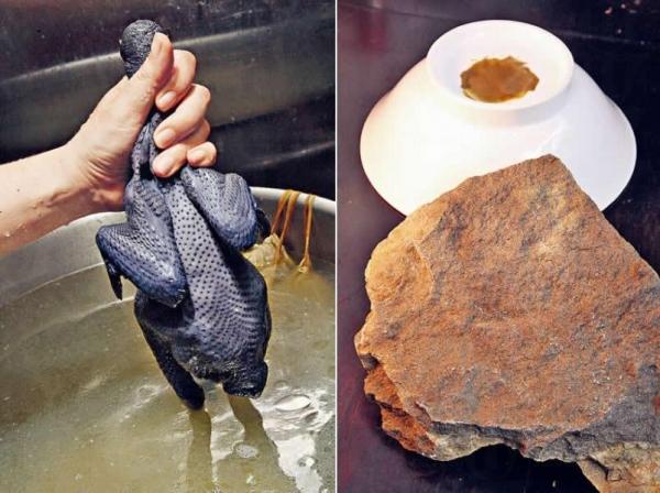 一煲已經用上7-8隻新鮮烏雞和白雞,再加火山石一同慢火煲最少兩日,味道鮮甜。/ 火山石磨成粉,再塗於碗底中,日本人相信可以加強湯水淨化效用。