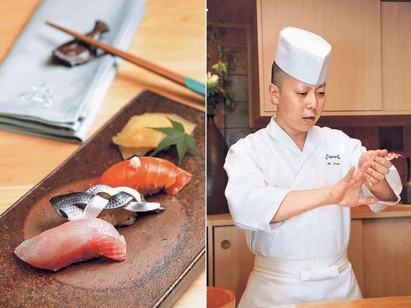 【金目鯛、小肌、時不知三文魚(晚餐)】三款壽司皆為晚巿壽司之一,處理手法皆為江戶前壽司的做法,時不知三文魚是日本最高級的三文魚,魚身份外橙紅。 / 齋藤正樹曾在銀座店工作。