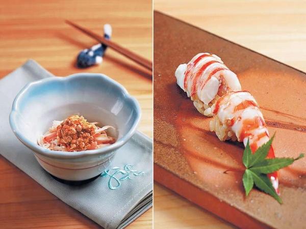 【北海道毛蟹沙律】$1,680以上的晚餐佐酒小菜之一,採用北海道活毛蟹。 / 【車海老壽司(晚餐)】鮮活的大海蝦來自築地,上枱前才馬上烚好處理。