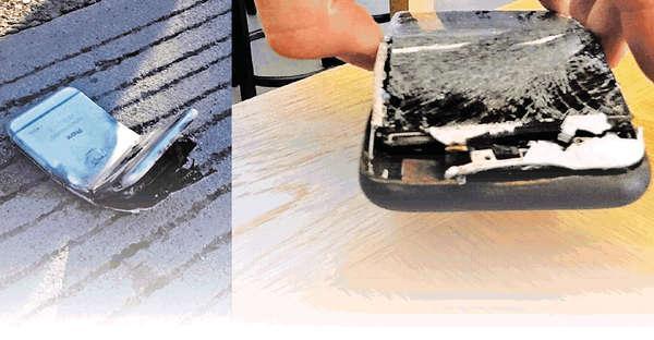 撞車撞彎 iPhone 6燒着