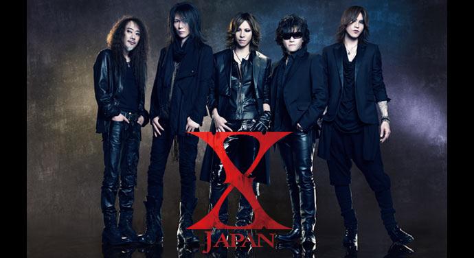 X JAPANのロゴが入ったメンバー5人が並んでいるX JAPANの画像